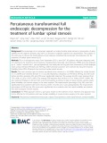 Percutaneous transforaminal full endoscopic decompression for the treatment of lumbar spinal stenosis