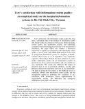 User's satisfaction with information system quality: An empirical study on the hospital information systems in Ho Chi Minh City, Vietnam
