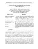 Factors affecting green food purchase intention in Ho Chi Minh City