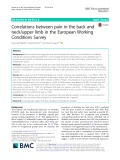 Correlations between pain in the back and neck/upper limb in the European Working Conditions Survey