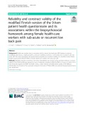 Reliability and construct validity of the modified Finnish version of the 9-item patient health questionnaire and its associations within the biopsychosocial framework among female health-care workers with sub-acute or recurrent low back pain