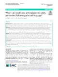 When can total knee arthroplasty be safely performed following prior arthroscopy
