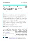 Diagnosis and management of lumbar spinal stenosis in primary care in France: A survey of general practitioners