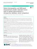 Patient demographics and MRI-based measurements predict redundant nerve roots in lumbar spinal stenosis: A retrospective database cohort comparison