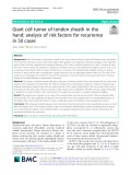 Giant cell tumor of tendon sheath in the hand: Analysis of risk factors for recurrence in 50 cases