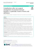 Complications after non-surgical management of proximal humeral fractures: A systematic review of terms and definitions