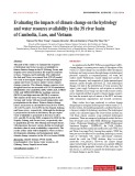 Evaluating the impacts of climate change on the hydrology and water resource availability in the 3S river basin of Cambodia, Laos, and Vietnam