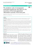 The predictive value of preoperative neutrophil-lymphocyte ratio (NLR) on the recurrence of the local pigmented villonodular synovitis of the knee joint
