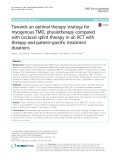 Towards an optimal therapy strategy for myogenous TMD, physiotherapy compared with occlusal splint therapy in an RCT with therapy-and-patient-specific treatment durations