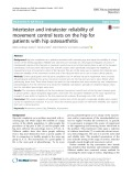 Intertester and intratester reliability of movement control tests on the hip for patients with hip osteoarthritis