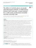 The effects of arthritis gloves on people with Rheumatoid Arthritis or Inflammatory Arthritis with hand pain: A study protocol for a multi-centre randomised controlled trial (the A-GLOVES trial)
