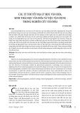 Các lý thuyết địa lý học văn hóa, sinh thái học văn hóa và việc vận dụng trong nghiên cứu văn hóa