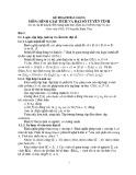 Bài giảng môn Hình giải tích và đại số tuyến tính