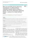Effect of counselling during pulmonary rehabilitation on self-determined motivation towards physical activity in people with chronic obstructive pulmonary disease – protocol of a mixed methods study