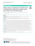 Safety and use of pulmonary function tests: A retrospective study from a single center over seven years' clinical practice