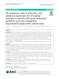 The predictive value of PaO2/FIO2 and additional parameters for in-hospital mortality in patients with acute pulmonary embolism: An 8-year prospective observational single-center cohort study