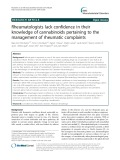 Rheumatologists lack confidence in their knowledge of cannabinoids pertaining to the management of rheumatic complaints