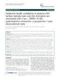 Subjective health complaints in patients with lumbar radicular pain and disc herniation are associated with a sex - OPRM1 A118G polymorphism interaction: A prospective 1-year observational study