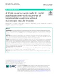 Artificial neural network model to predict post-hepatectomy early recurrence of hepatocellular carcinoma without macroscopic vascular invasion