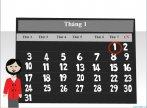 Lịch năm kiểu hình vuông cho powerpoint