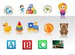 Biểu tượng minh họa powerpoint -Trẻ em với đồ chơi và các mẫu kí tự học tập